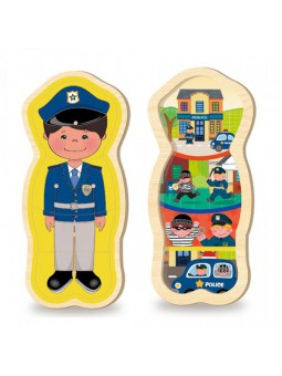 Puzzle madera silueta policía
