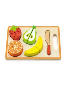 Tabla madera frutas cortadas