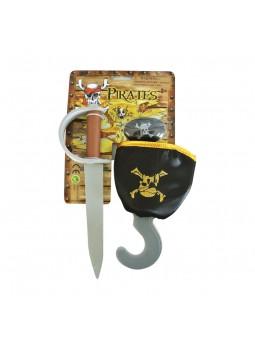 Pirata set con parche, cuchillo y garfio